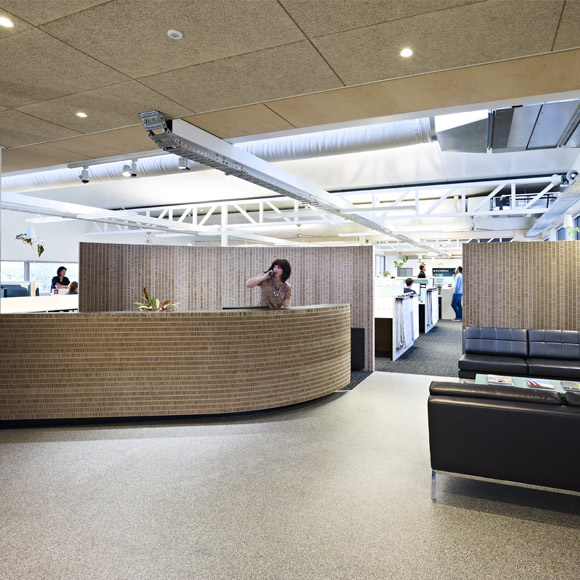 FMSA Office reception area uses recycled cardboard paneling to shape the space and acoustic buffer